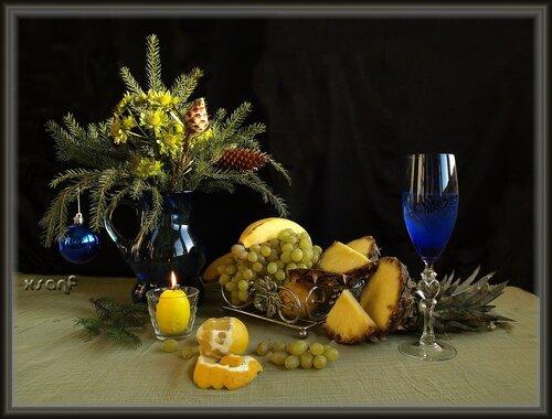 новый год, натюрморт, композиция, фрукты, бокал, свеча.