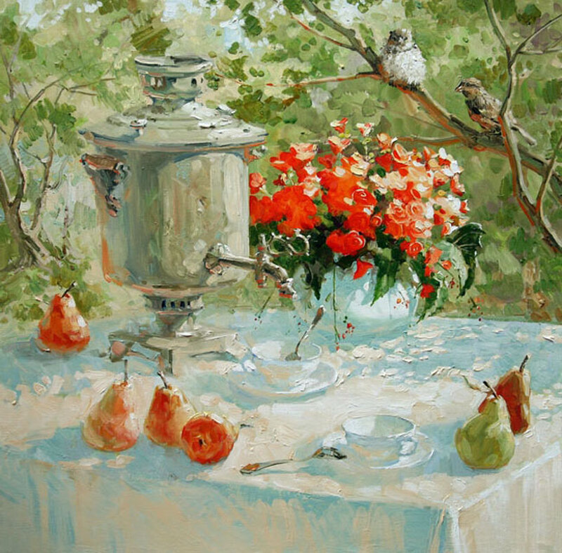 Самовар с дымком, чай попьем в саду. Художник Павлова Мария Станиславовна