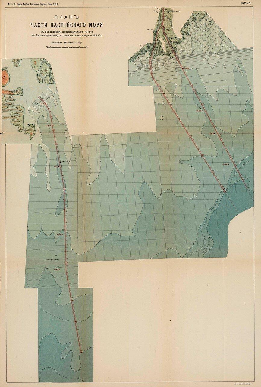 11. План части Каспийского моря с показанием проектируемого канала
