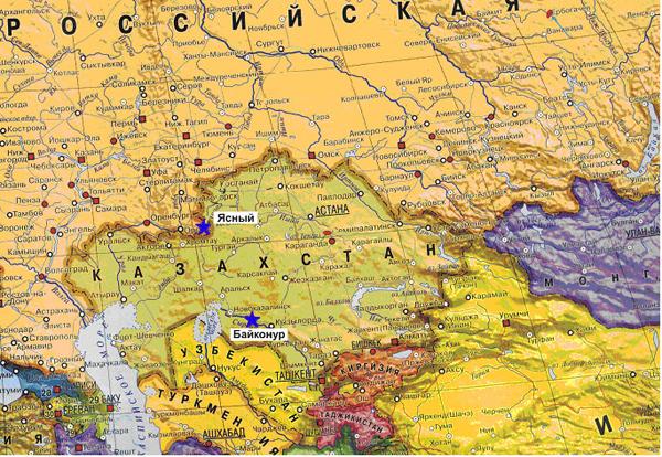 Географическое расположение космодрома Байконур и Базы подготовки космических аппаратов «Ясный»