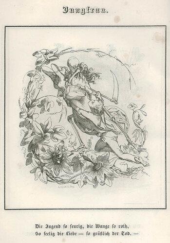 Дева. C. Merkel. Bilder des Todes ober Todtentanz für alle Stände. n.c. : n.p., 1850, Plate 7.