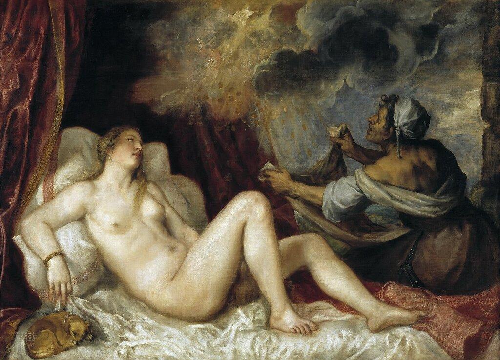 Тициан (Тициано Вечеллио): Даная, принимающая в своё лоно Зевса в виде золотого дождя [Danae Receiving the Shower of Gold] 1553
