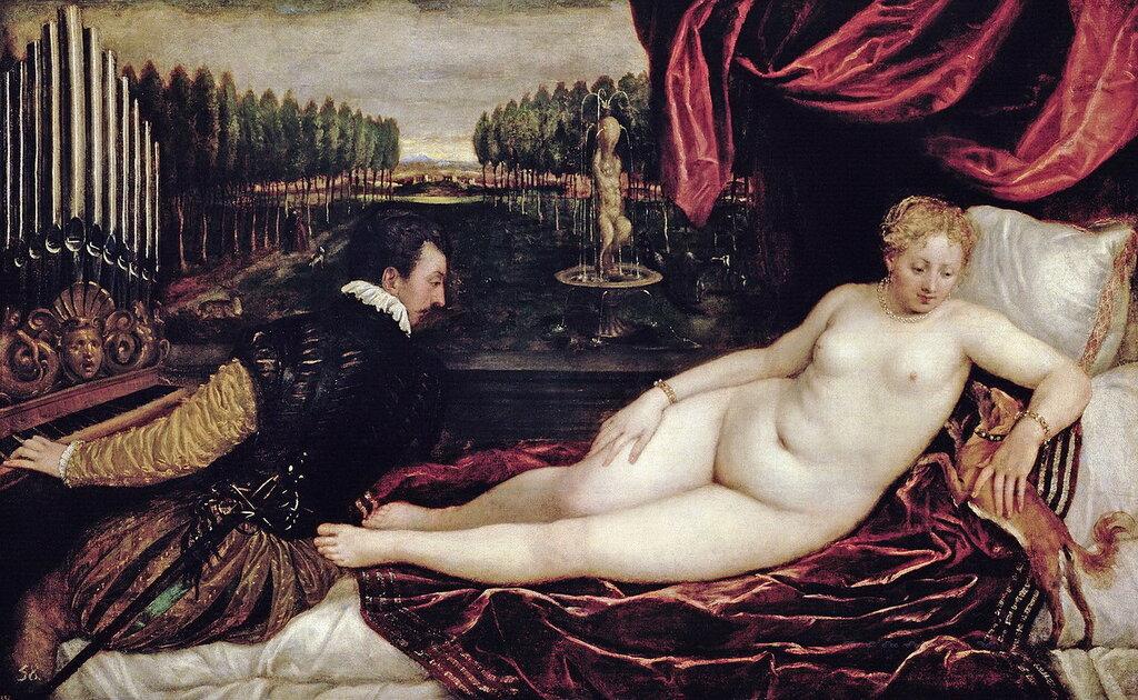 Тициан (Тициано Вечеллио): Венера и органист, 1540-50 Прадо, Мадрид (Prado, Madrid).