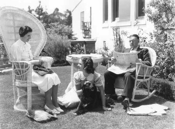 Deanna Durbin with mother and father and dog, in late 1930s.