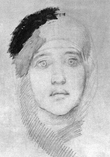 Врубель  М.А. Женская голова (Э.Л.Прахова). 1884-1885