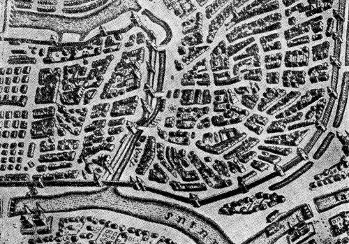Водяной ров у стены Китай-города из атласа 1643 года.