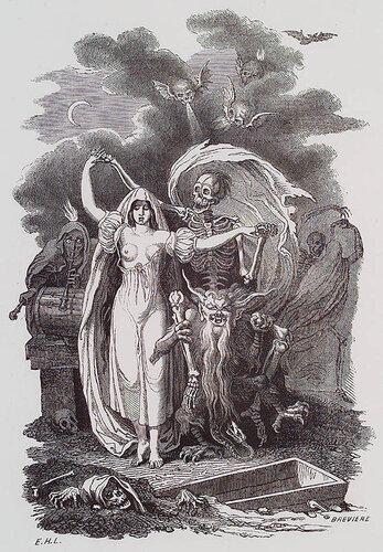 Соблазнительная смерть. E.-H. Langlois. Essai Historique, Philosophique et Pittoresque sur les Danses des Morts. n.c. : n.p., 1852, Plate Frontispiece.