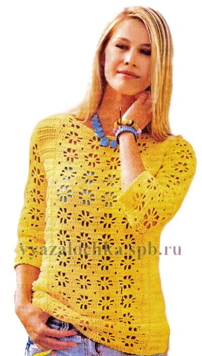 ажурный пуловер кручком