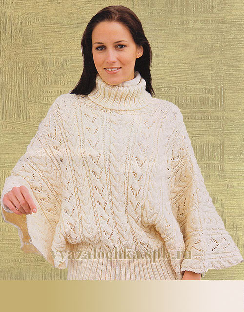 пуловер с рукавами летучая мышь спицами елена вязалочка лучшие