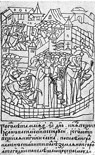 Построение Китай-города (миниатюра из Царственной книги)