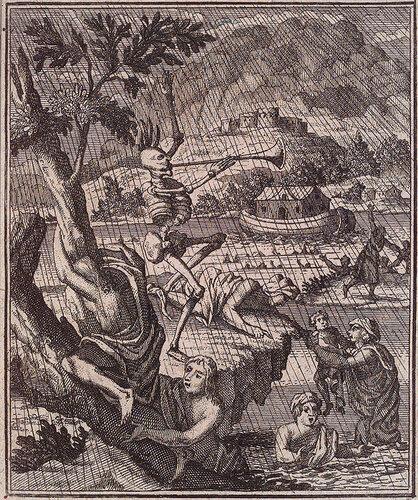 Смерть вне Ноева ковчега. Sal. van Rusting. Todten-Tanz.  Neurnberg : Peter Conrad Monath, 1736. Page 0.28, Plate 2.