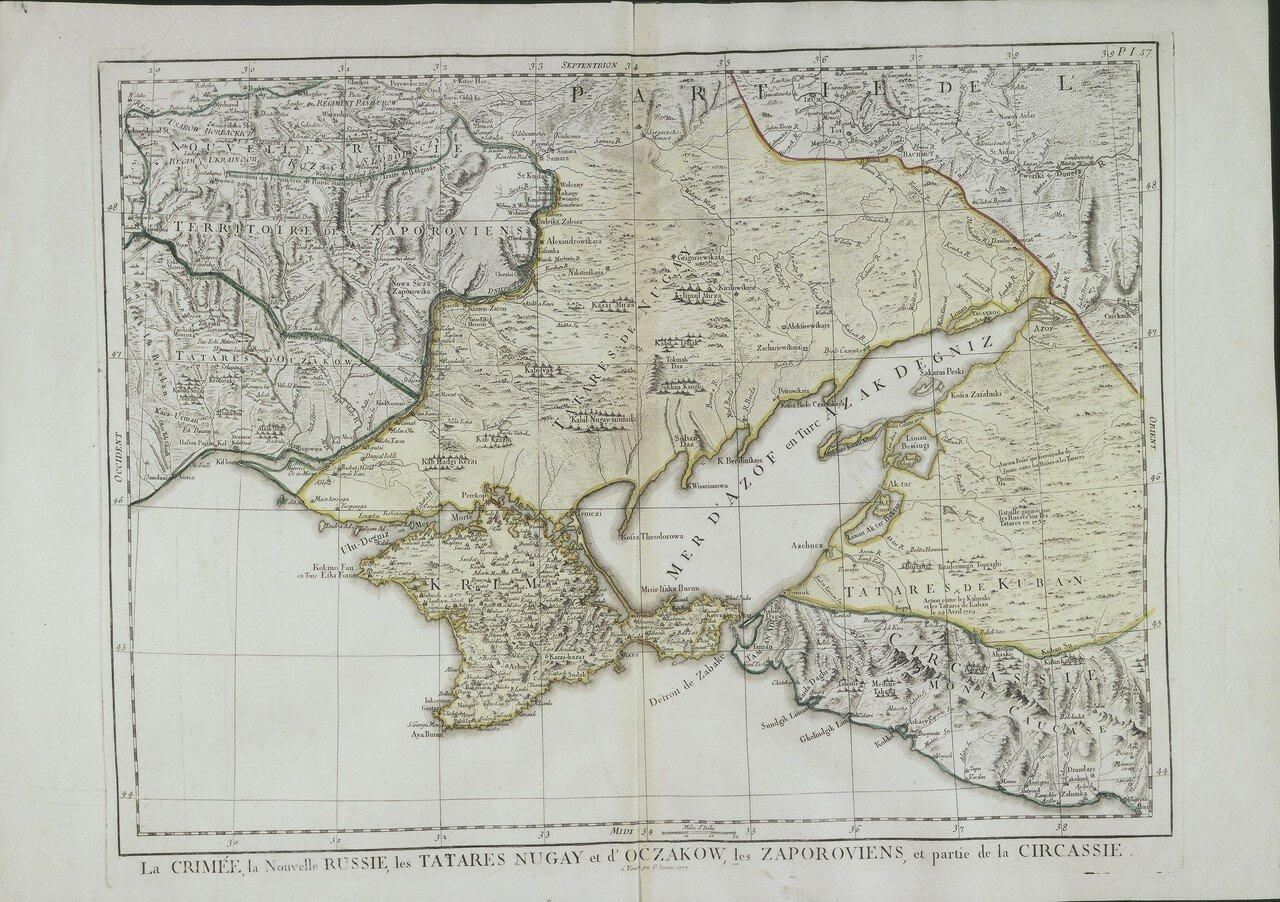 1777. Крым, Новороссия, Ногайская Татария с Очаковым, Запорожье и часть Черкессии
