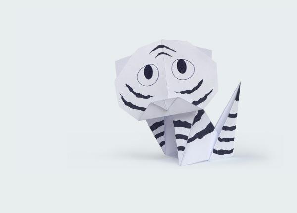 Новогодний тигренок-оригами