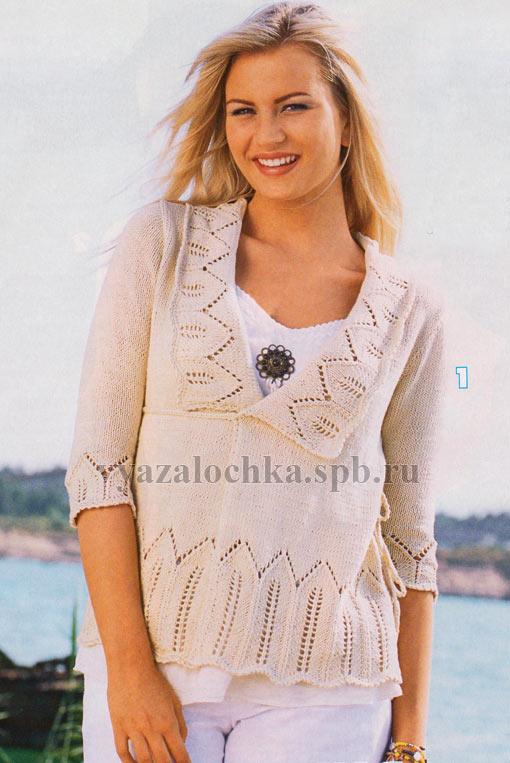 пуловер с ажурным краем спицами схема