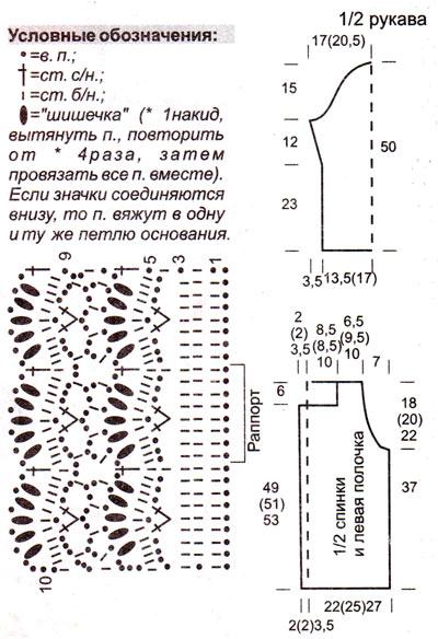 кружевной пуловер крючком схемы