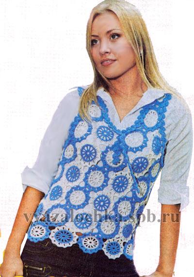 Вам потребуется: 200г синей и 150г белой пряжи (100% мериносовой шерсти), крючок 3. бесплатные схемы вязания.