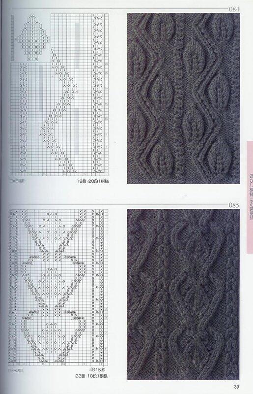 Узоры для вязания на спицах со схемами.