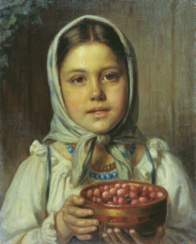 """Схема вышивки  """"Портрет крестьянской девочки """" ."""