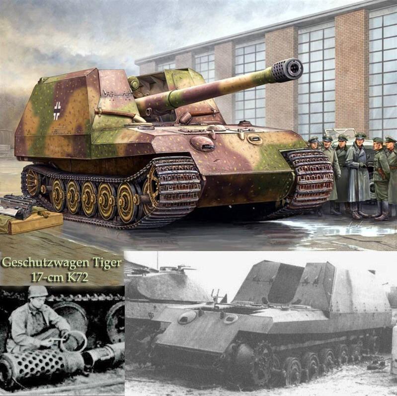 En 1942, Krupp recibió una orden para desarrollar el cañón autopropulsado Grille 17, basado en los componentes de Tiger II, en el que se podían instalar 170 mm. pistola K72 L / 50. Una de las condiciones del pedido era un peso de no más de 53-58 toneladas. También se planeó convertir el Grille 17 en Grille 21, armado con 210 mm. mortero 18/1 L / 31. El siguiente en la serie fue el Grille 30. Se suponía que iba armado con 305 mm. Mortero Skoda GrW L / 16. También en el proceso de desarrollo se encontraba el proyecto Grille 42, con 420 mm. mortero grw. En 1943-44, Krupp comenzó a producir un prototipo, y la producción a gran escala estaba programada para mediados de 1945. Pero, en relación con el final de la guerra, todo el trabajo en estos proyectos fue cerrado.