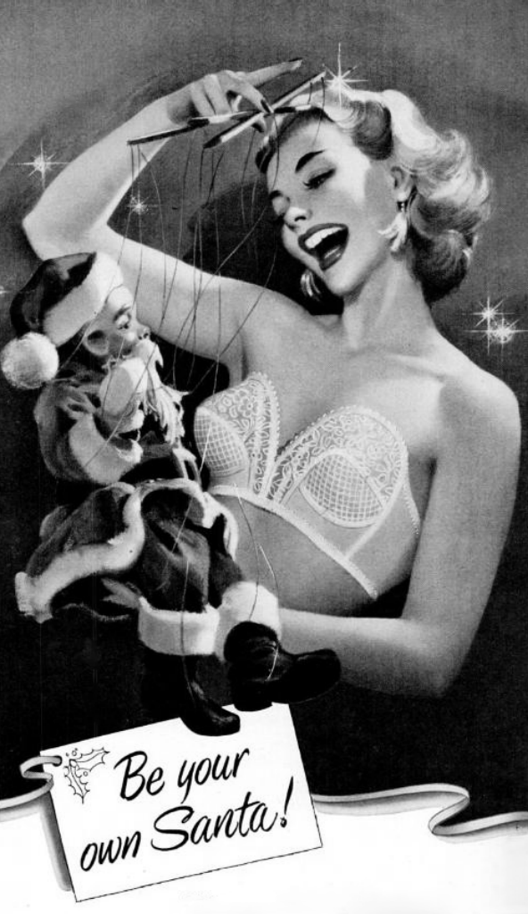 Be your own Santa!  Detail from 1953 Formfit Bra ad.png
