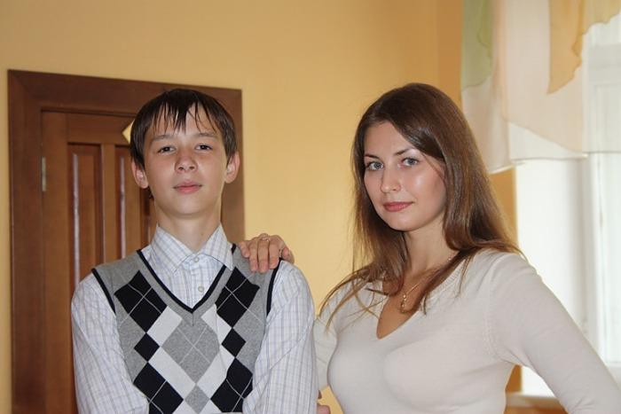 русские учительница и ученик