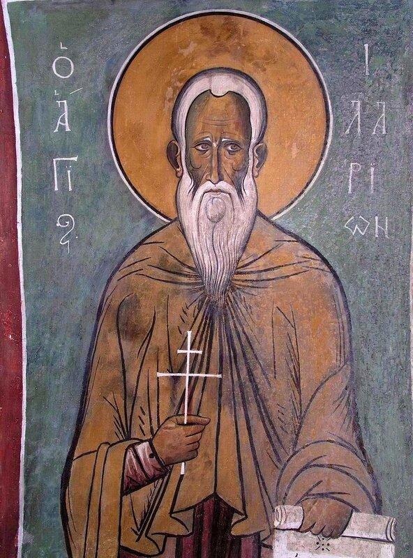 Святой Преподобный Иларион Великий. Фреска церкви Панагии Аракиотиссы в Лагудера, Кипр. 1192 год.