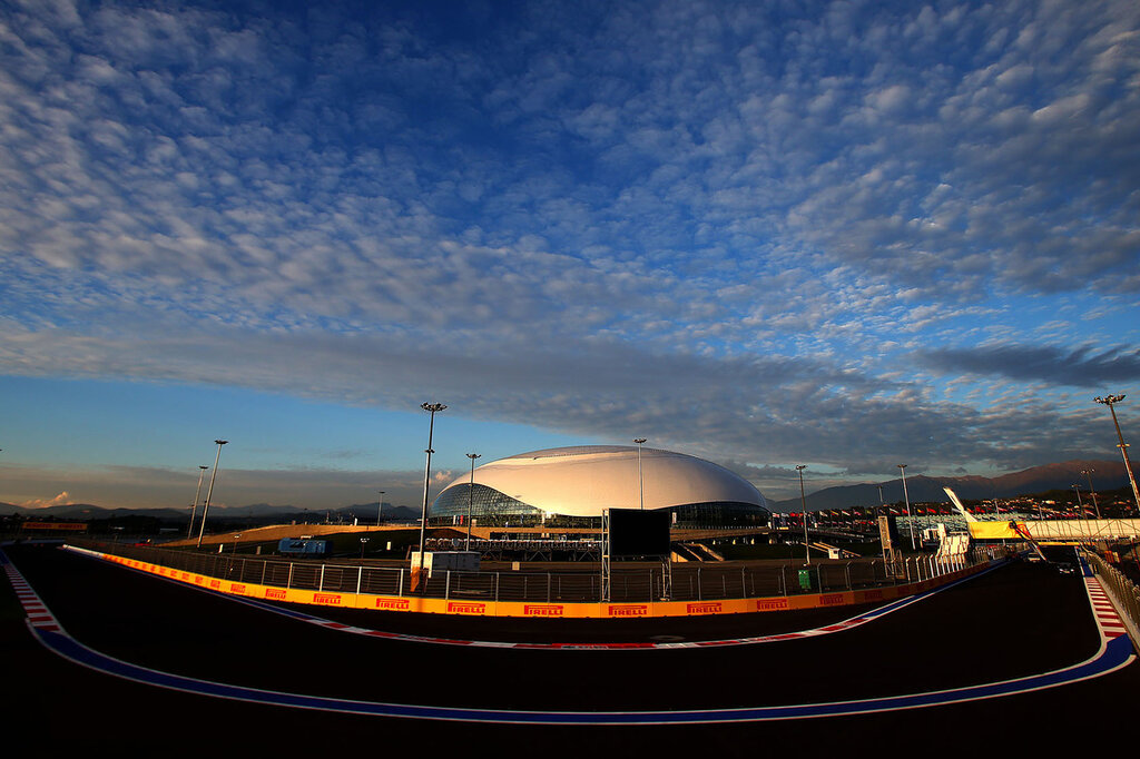 SOCHI, RUSSIA - OCTOBER 08:  A general view of the track next to the Bolshoi Ice Dome during previews ahead of the Russian Formula One Grand Prix at Sochi Autodrom on October 8, 2014 in Sochi, Russia.  (Photo by Dan Istitene/Getty Images)
