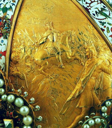 Корона Императора Рудольфа II Габсбурга (фрагмент: декор пластины — Рудольф II как военачальник)