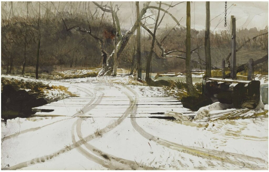 1Andrew Wyeth (1917-2009). Race Bridge. 1984. Gouache and watercolor on paper . 35.6 x 55.9 cm.jpg