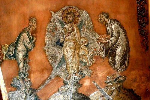 ПРЕОБРАЖЕНИЕ ГОСПОДНЕ. Мозаика церкви Святых Апостолов в Салониках, Греция. XIV век.