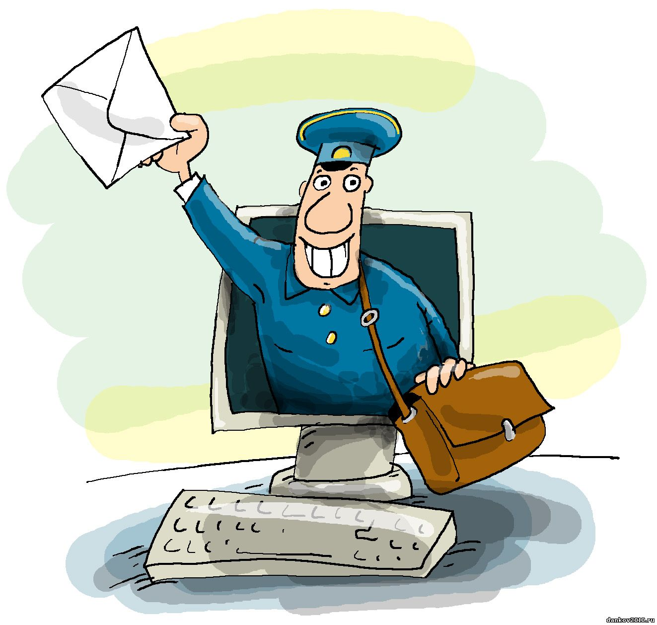 Открытки. С Днем Российской Почты! Почтальон из монитора подает письмо