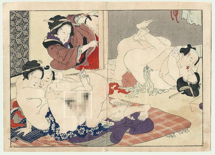 В Японии начала XVII века в городах Киото, Эдо и Осака была широко распространена мужская и женская