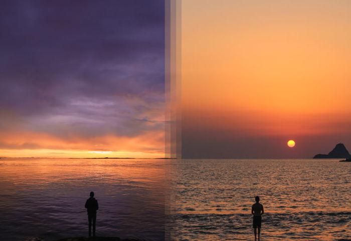 Восход на острове Ванкувер в Канаде и на острове Порос в Греции.