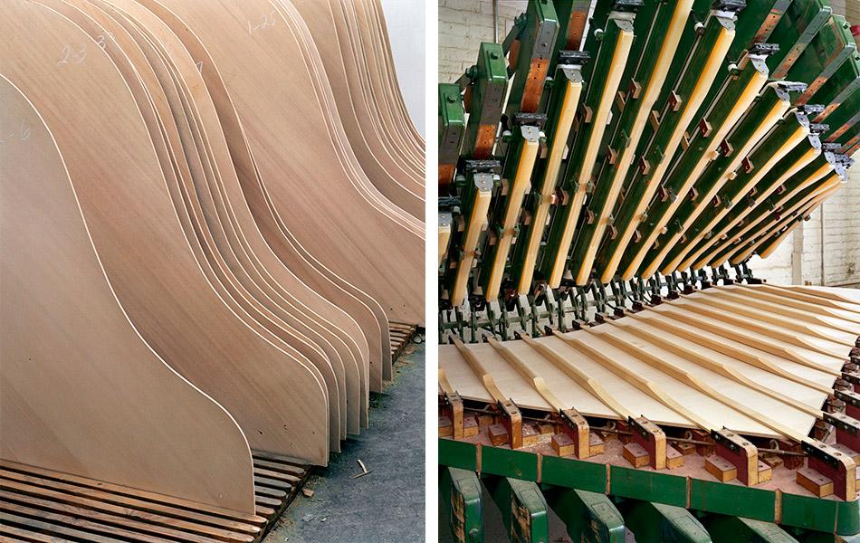 Верхней части деки придается форма конуса, мастер делает ее чуть тоньше по краям для лучшей зву