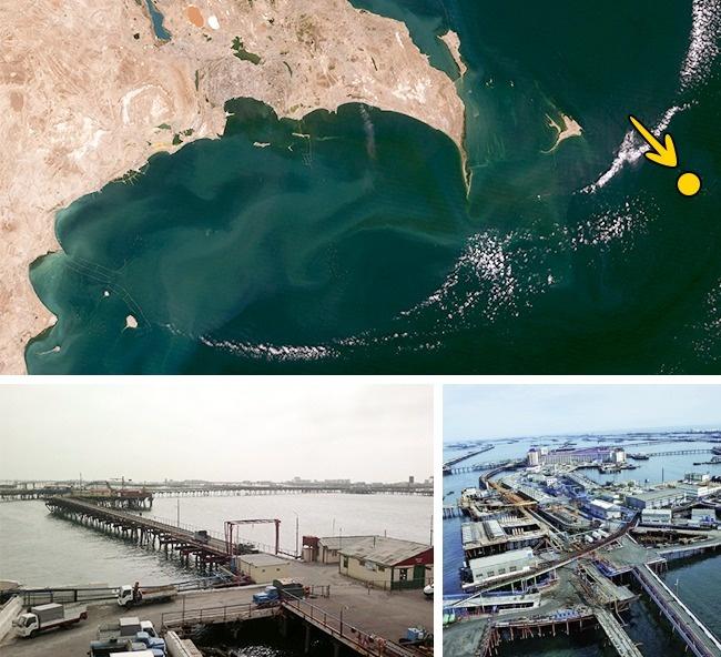© NASA/wikipedia  © Interfase  Нефтяные Камни— это промышленный город вАзербайд