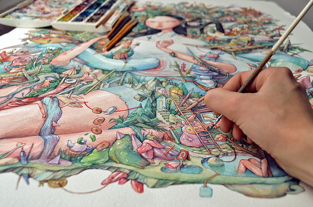 A Giant Bosch-Inspired Watercolor by Illustrator Marija Tiurina