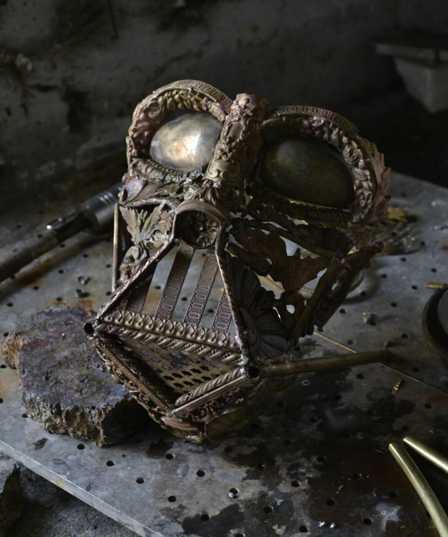 Metallic Sculptures of Darth Vader and R2D2