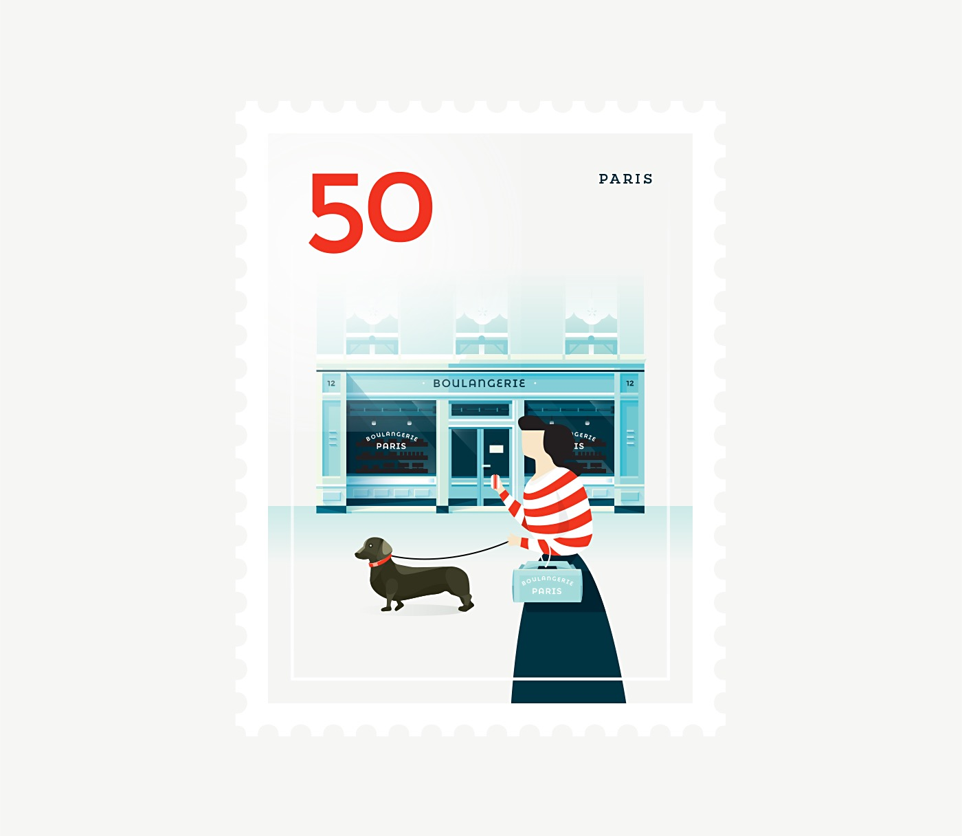 Minimalists Illustrated Stamps of Iconic Cities (9 pics)