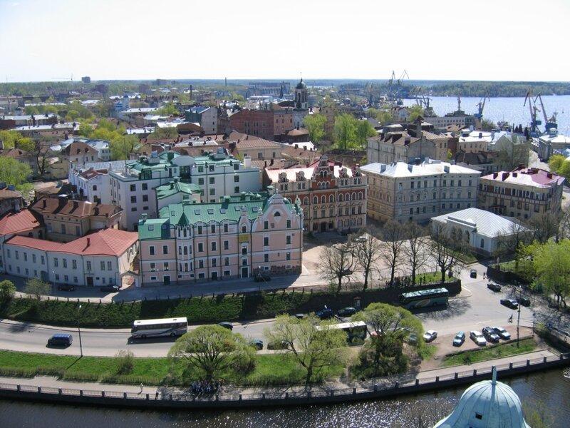 Панорама исторической части Выборга, вид с башни Св. Олафа Выборгского замка