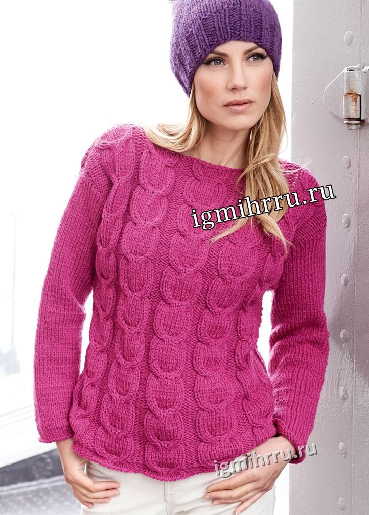 Теплый пуловер цвета цикламена с косами. Вязание спицами