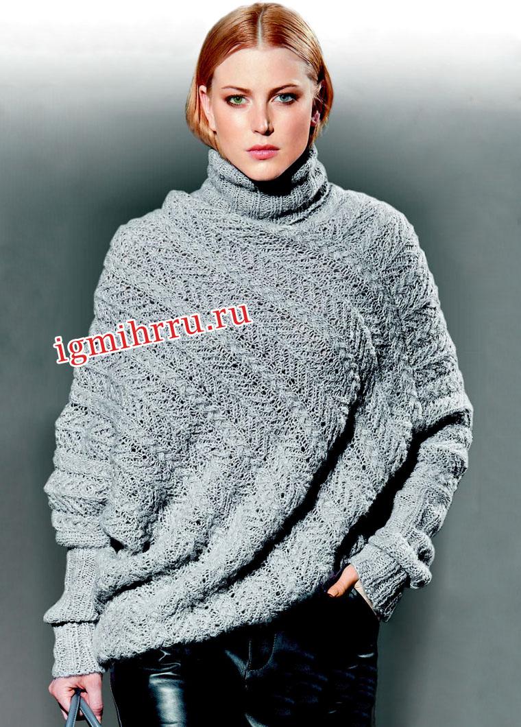 Свободный серый свитер-пончо в ажурную полоску. Вязание спицами