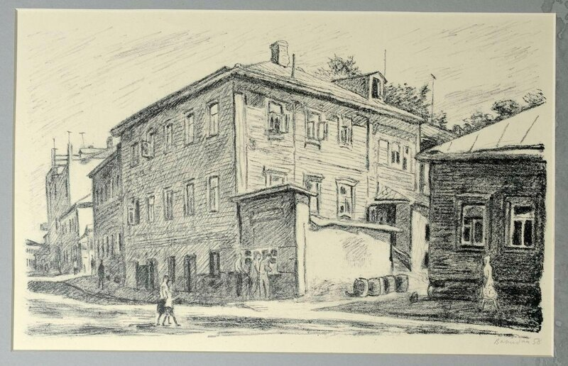 Вакидин, В.Н. Пейзаж с пивным ларьком на Новоспасской. 1958.jpg