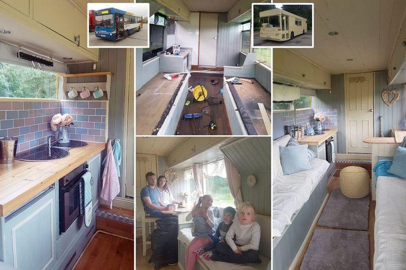 Пара купила старый автобус за £1200 и превратила в уютный дом на колесах
