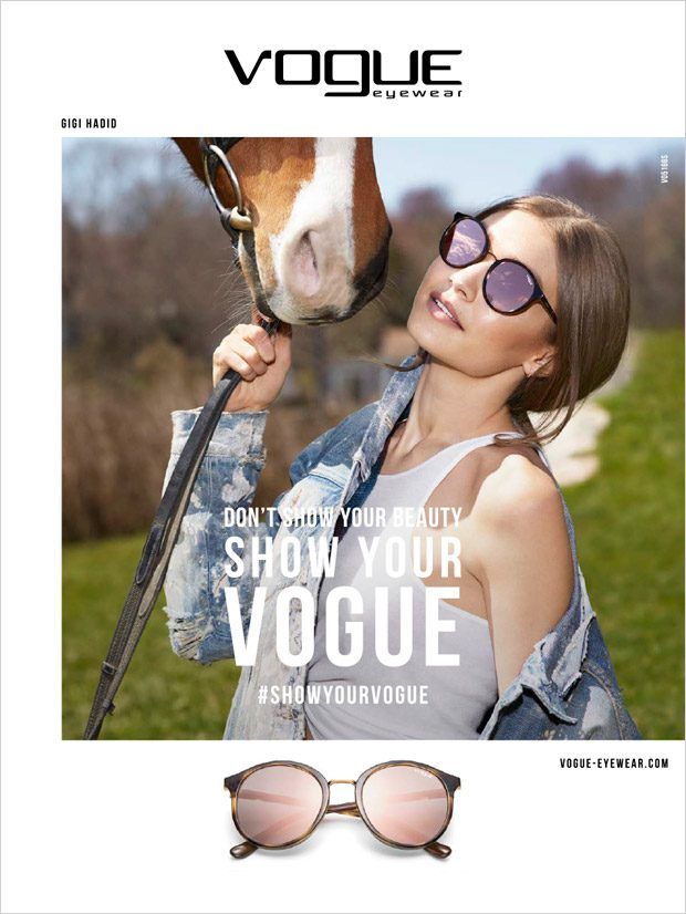 Джиджи Хадид в рекламе очков Vogue