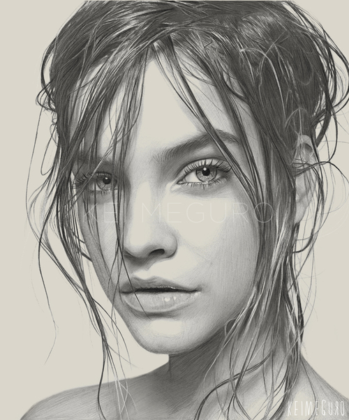 Kei Meguro Beautifully Draws Portraits of Girls