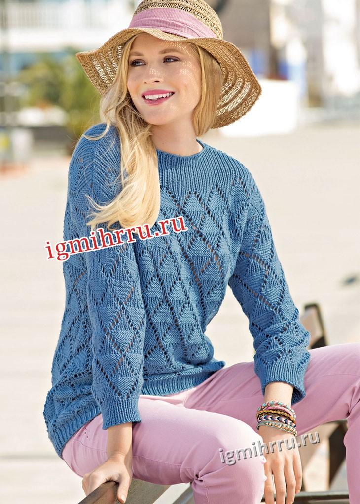 Джинсовый пуловер с узором из ромбов. Вязание спицами