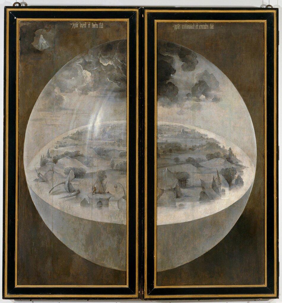 """23.1.Триптих """"Сад земных наслаждений"""" (1500-1505) (220 х 195) (Мадрид, Прадо) ЗАКРЫТ. Сотворение Земли.jpg"""