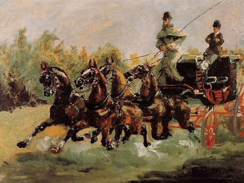 Alphonse de Toulouse-Lautrec Driving His Four-in-Hand - 1880 - Musee du Petit Palais - Paris -  Painting - oil on canvas.jpg