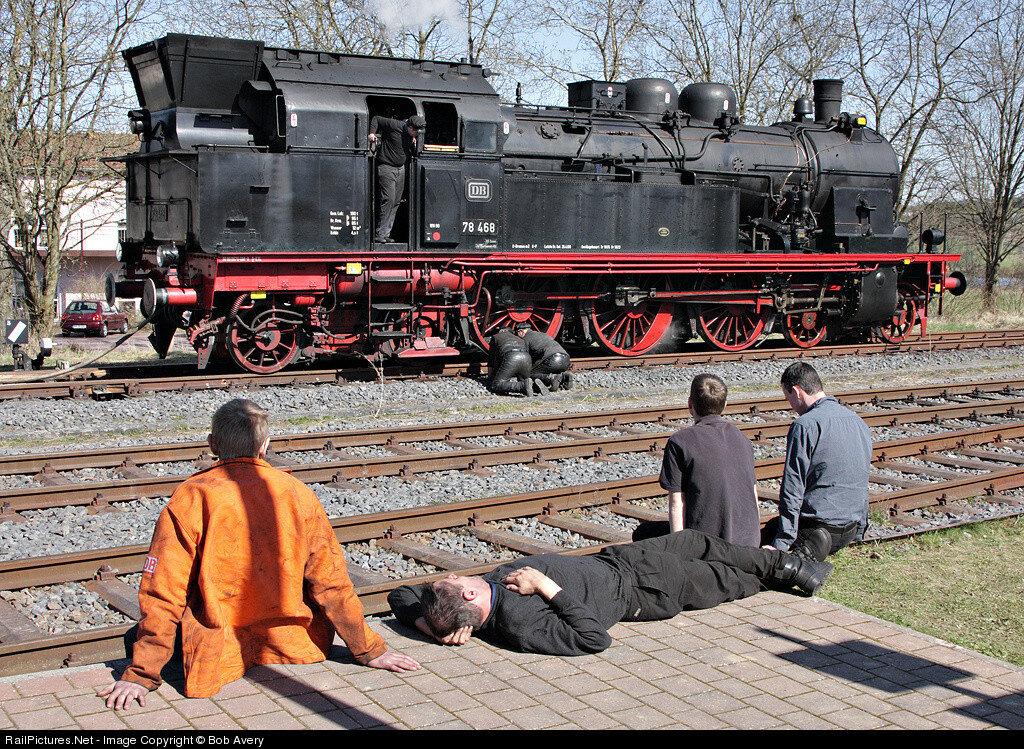Deutsche Bundesbahn Steam 4-6-4 #78468, Bahnhof, Ulmen, Germany, April 06, 2010.