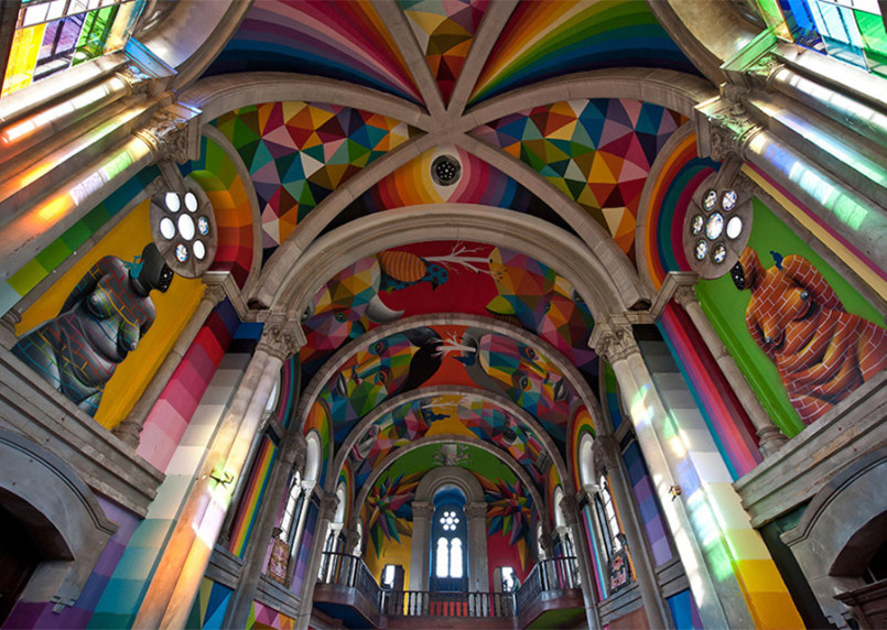 The Skate Church: Murals by Okuda San Miguel (10 pics)